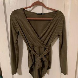 NASTY GAL NWOT Bodysuit Olive Green